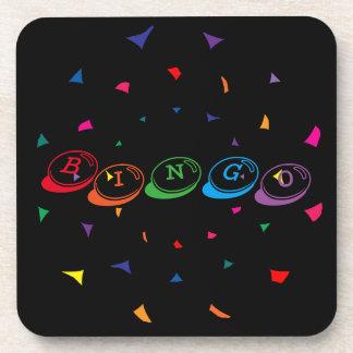 BINGO bunte Beschriftung auf Schwarzem Cocktail Untersetzer
