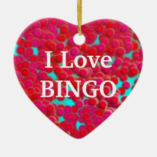 Bingo-Chips auf Herz-geformter Verzierung Keramik Herz-Ornament