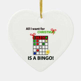 BINGO I wollen ein Bingo für Weihnachten Keramik Herz-Ornament