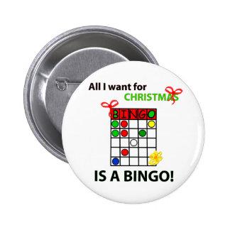 BINGO I wollen ein Bingo für Weihnachten Runder Button 5,1 Cm