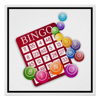 BINGO Karte mit BINGO Bällen Poster