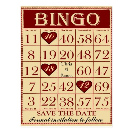 Bingo-Save the Date Postkarte