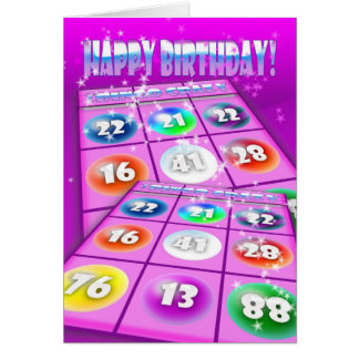 Bingo-verrückte Geburtstags-Karte Grußkarte
