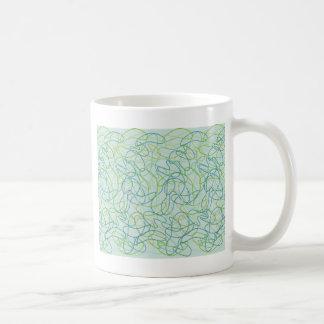 Bio Formen in aquamarinem, im Gold und im Grün auf Kaffeetasse