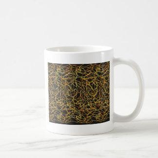 Bio Formen in der Orange, im Gold u. im Gelb auf Kaffeetasse