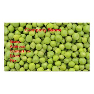 Bio Hintergrund der grünen Erbsen (Pisum sativum) Visitenkarten
