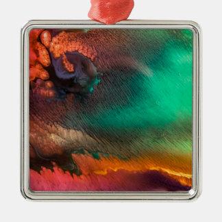 Bio Malerei des abstrakten Farbspritzens Quadratisches Silberfarbenes Ornament