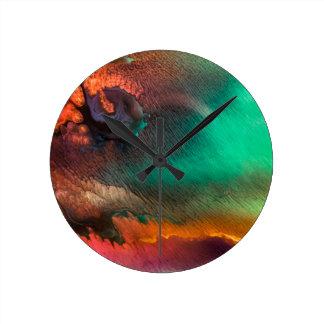 Bio Malerei des abstrakten Farbspritzens Runde Wanduhr