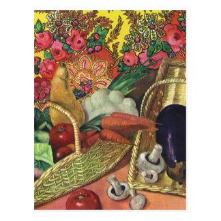 Bio Nahrung, Garten-Gemüse, blühende Blumen Postkarte