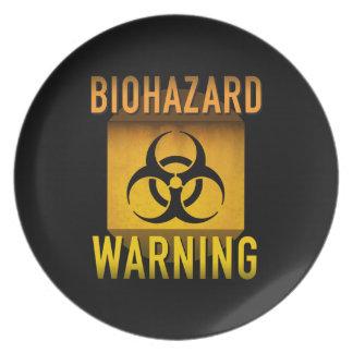 Biogefährdung-Warnsymbol-Retro AtomalterGrunge: Melaminteller
