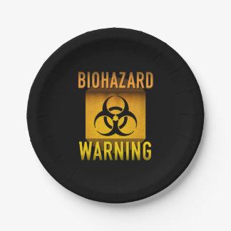 Biogefährdung-Warnsymbol-Retro AtomalterGrunge: Pappteller