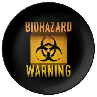 Biogefährdung-Warnsymbol-Retro AtomalterGrunge: Porzellanteller