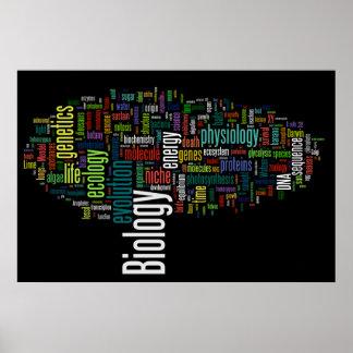 Biologie Wordle Nr. 5-Schwarzes Poster