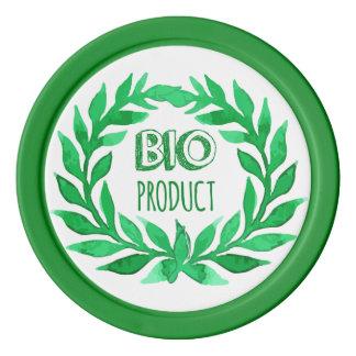 Bioprodukt-Grün-Aquarell-Bauernhof-frische Nahrung Pokerchips
