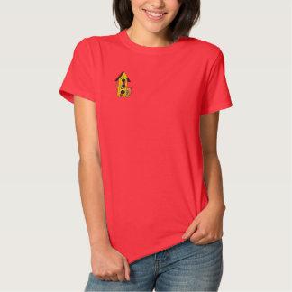Birdhouse und Katze gesticktes Shirt Besticktes Damen Polo Shirt