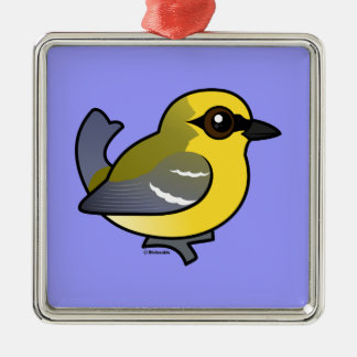 Birdorable Blau-winged Trällerer Silbernes Ornament