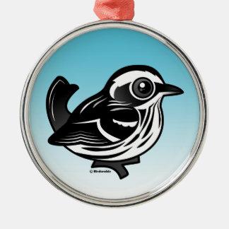 Birdorable schwarzer u. weißer Trällerer Silbernes Ornament