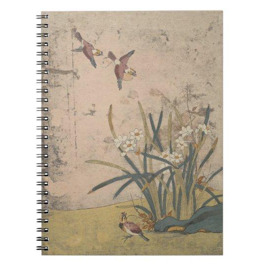 Birds and Narcissus Spiral Notizblock