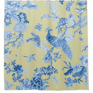 Birds_Toile_Blue u. Senf Duschvorhang