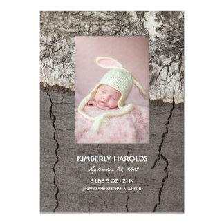 Birken-Barken-rustikale hölzerne neugeborene Karte