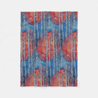 Birken-Baum-blaue Abends-Fleece-Decke Fleecedecke