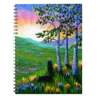 Birken-Baum-schwarze Katzen-Sonnenuntergang Spiral Notizblock