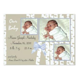 Birken-Baum-und Bogen-Baby 12,7 X 17,8 Cm Einladungskarte
