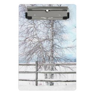 Birken-Baum-Winter-Szene Mini Klemmbrett