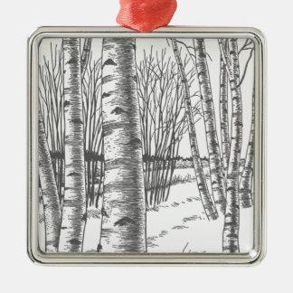 Birken-Bäume in Winter-Weihnachtsweihnachten Silbernes Ornament