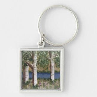 Birken-Bäume keychain Silberfarbener Quadratischer Schlüsselanhänger