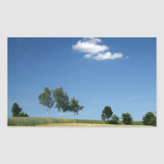 Birken blau rechteckiger aufkleber