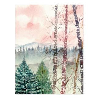 Birkenbaum-Landschaftsmalerei Postkarte