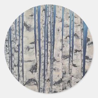 Birkenbäume Morsealphabet Runder Aufkleber