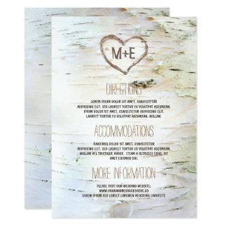 Birkenrinde-Herz-rustikale Hochzeits-Informationen Karte