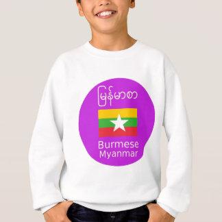 Birmane/Myanmar-Sprache und Flaggen-Entwurf Sweatshirt