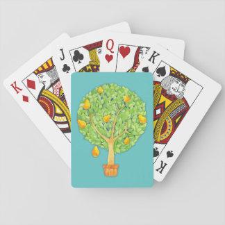 Birnen-Baum-aquamarine Spielkarten