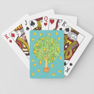 Birnen-Baum-Birnen-aquamarine Spielkarten