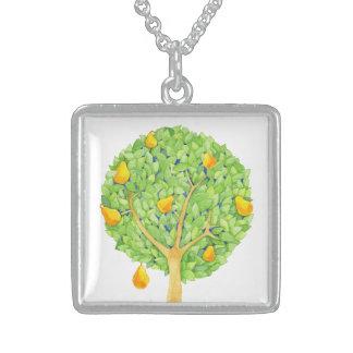 Birnen-Baum-Sterlingsilber-Quadrat-Halskette Sterling Silberkette