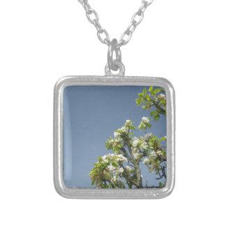 Birnen-Baumaste mit Blüten Versilberte Kette