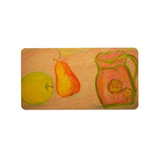 Birnen- und Apfelskizze Adressaufkleber