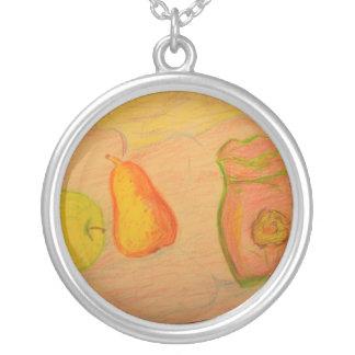 Birnen- und Apfelskizze Versilberte Kette