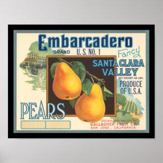 Birnen-Vintager Kisten-Aufkleber KRW Embarcadero Plakatdrucke