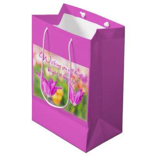 Birthday>Christian>Tulips> hell u. schön Mittlere Geschenktüte