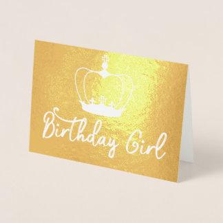 Birthday Girl Crown Queen Gold Foil Card Folienkarte