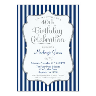 Birthday Invitation Navy Blue Silver Adult Karte