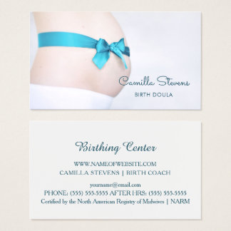 Birthing Doula schwangerer Baby-Stoß mit blauem Visitenkarte