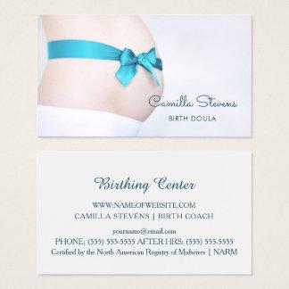 Birthing Doula schwangerer Baby-Stoß mit blauem Visitenkarten