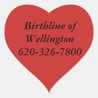 Birthline von Wellington-Aufklebern Herz-Aufkleber