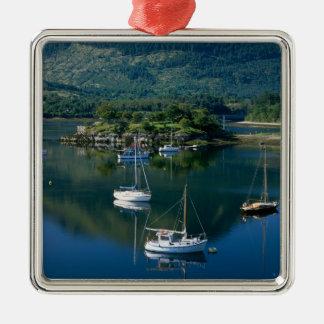 Bischofs-Bucht, Loch Leven, Ballachullish, Quadratisches Silberfarbenes Ornament