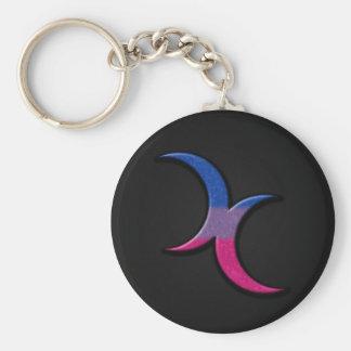 Bisexuelle Stolz-Halbmond-Monde Schlüsselanhänger